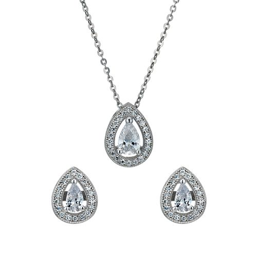 Sterling silver cubic zirconia pendant & stud earrings set - Product number 1661116