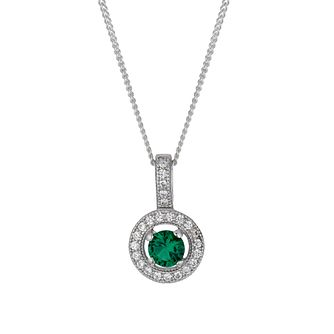 Sterling silver green cubic zirconia pendant - Product number 1661388