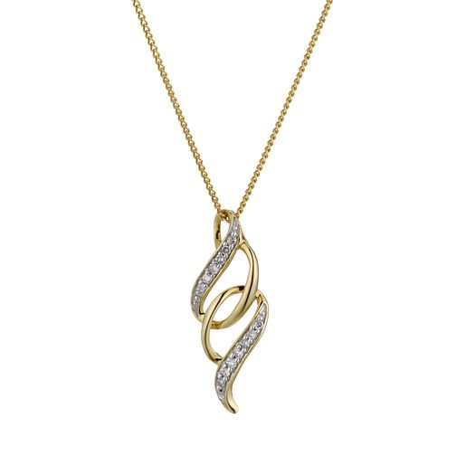 9ct Gold Diamond Twist Pendant - Product number 1664549