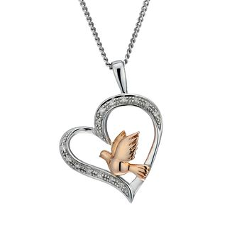 Sterling Silver & 9ct Rose Gold Diamond Bird Pendant - Product number 1664700