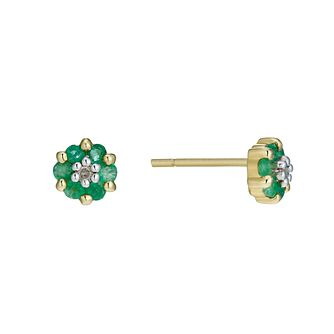 9ct Gold Emerald & Diamond Stud Earrings - Product number 1664816