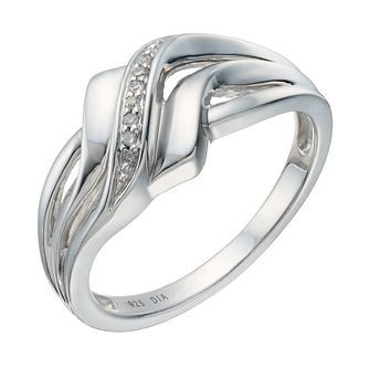 Sterling Silver Rhodium Plated Diamond Ring - Product number 1665871