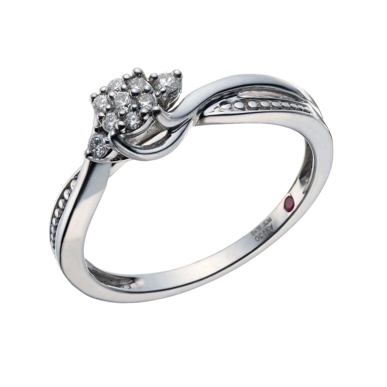 Cherished Argentium Silver 0.10ct Diamond Cluster Ring - Product number 1668080