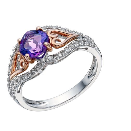 Silver & 9ct Rose Gold Amethyst & 0.16 Carat Diamond Ring - Product number 1670344