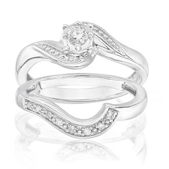 Perfect Fit Argentium Silver 0.15ct Total Diamond Bridal Set - Product number 1672886