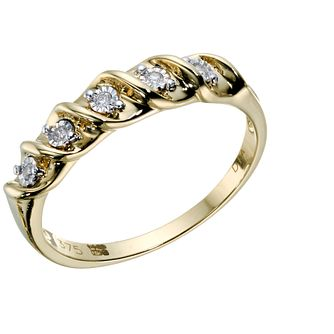 9ct Gold 5 Stone Diamond Eternity Twist Ring - Product number 1673009