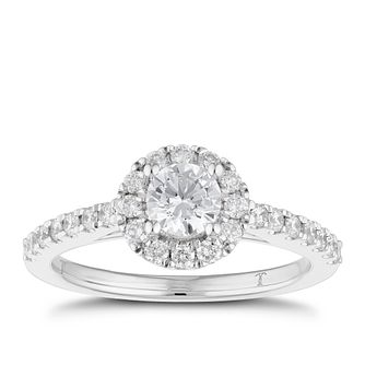 Tolkowsky 18ct White Gold 0.77ct Total Diamond Halo Ring - Product number 1674455