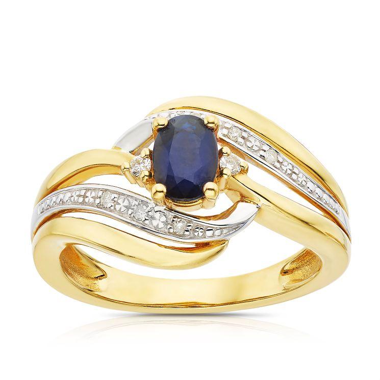 9ct Gold Sapphire & Diamond Eternity Ring