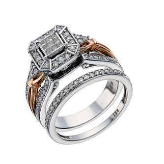 Perfect Fit 9ct White & Rose Gold 1/2ct Diamond Bridal Set - Product number 1679953