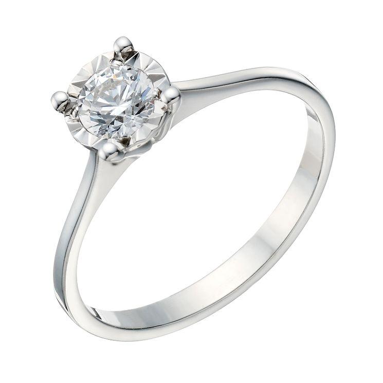 9ct White Gold 1 3 Carat Illusion Diamond Solitaire Ring