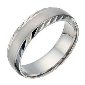 Palladium 500 Men's Matt & Polished Diamond Cut 6mm Ring - Product number 1684205