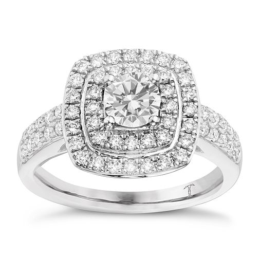 Tolkowsky 18ct white gold 1ct I-I1 diamond halo ring - Product number 1693743