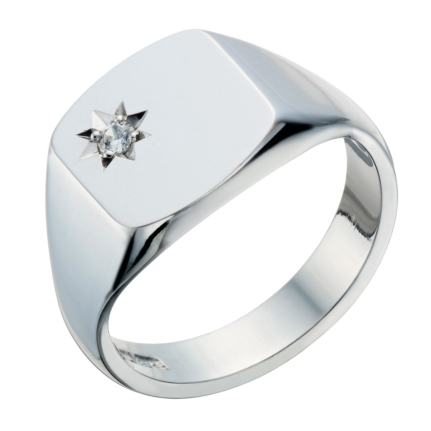 Sterling Silver Diamond Set Signet Ring - Product number 1705342