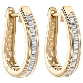 9ct Yellow Gold 1/3ct Baguette Cut Diamond Hoop Earrings - Product number 1711350