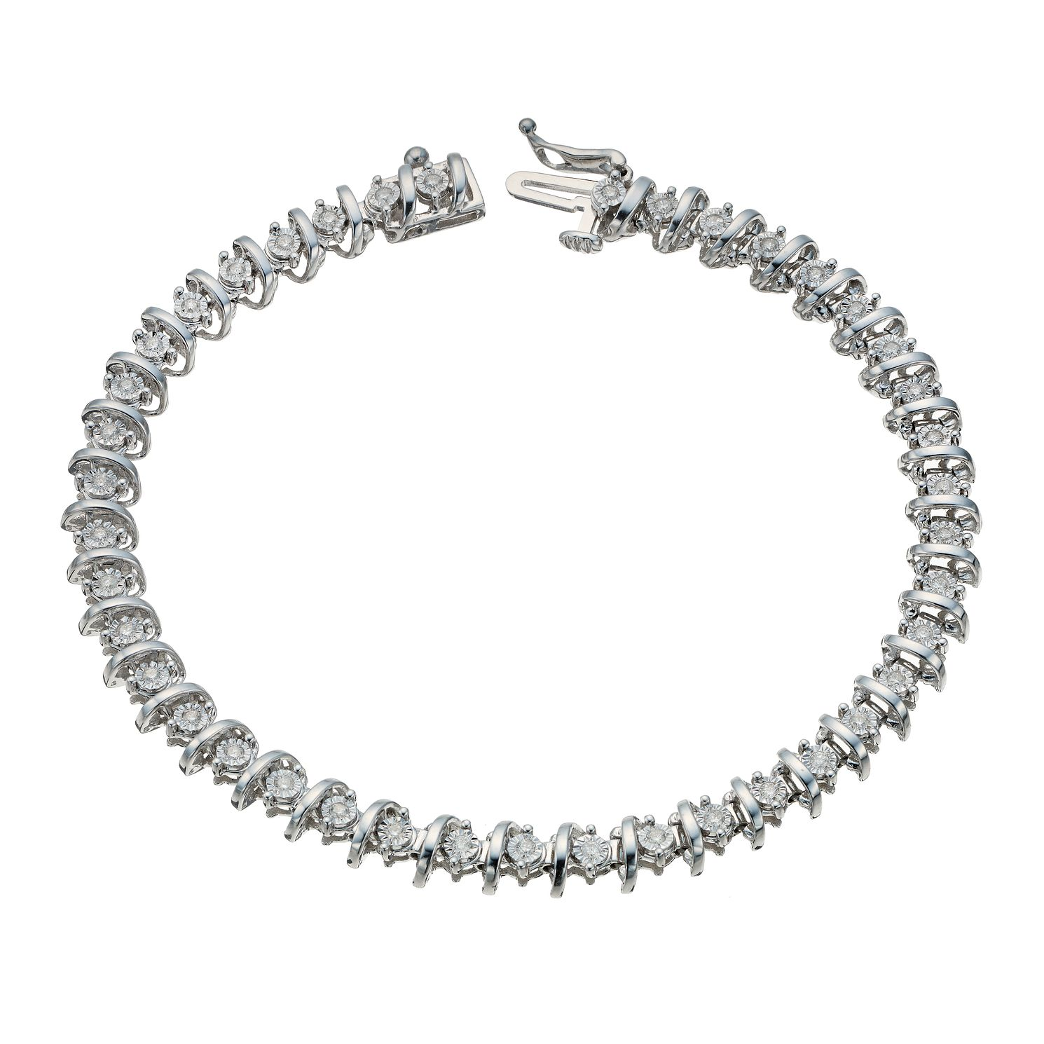 9ct White Gold 0.50ct Diamond Illusion Set Bracelet - Product number 1711679