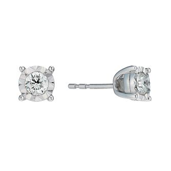 9ct White Gold 2/5ct Diamond Illusion Set Stud Earrings - Product number 1713604