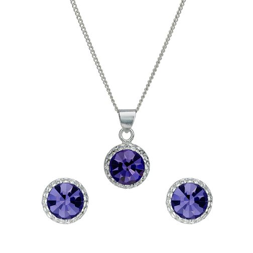 Sterling silver and purple crystal necklace and earring set - Product number 1716964