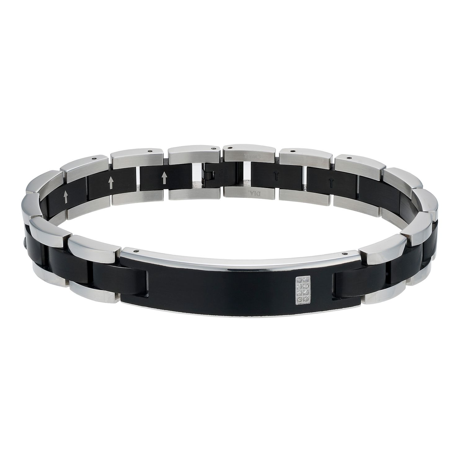 Stainless Steel Black Ion-Plated Diamond Set Bracelet - Product number 1729349