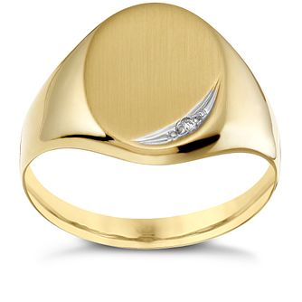 9ct Gold Diamond Set Oval Signet Ring - Product number 1729691