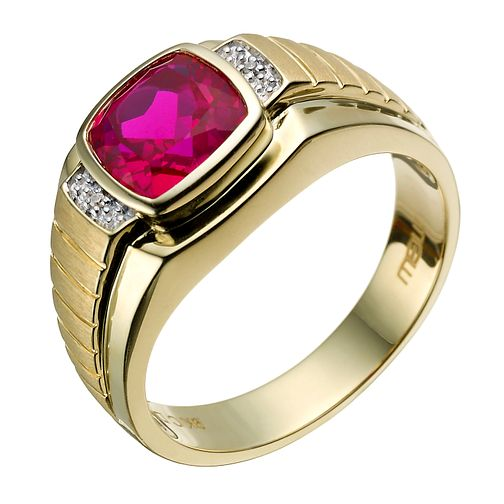 9ct gold created ruby & diamond square ring - Product number 1731971