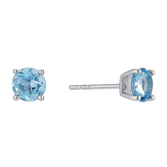 9ct White Gold Blue Topaz 5mm Stud Earrings - Product number 1734210