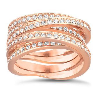 Swarovski Rose Gold-Plated Crystal Spiral Ring Size L - Product number 1740733