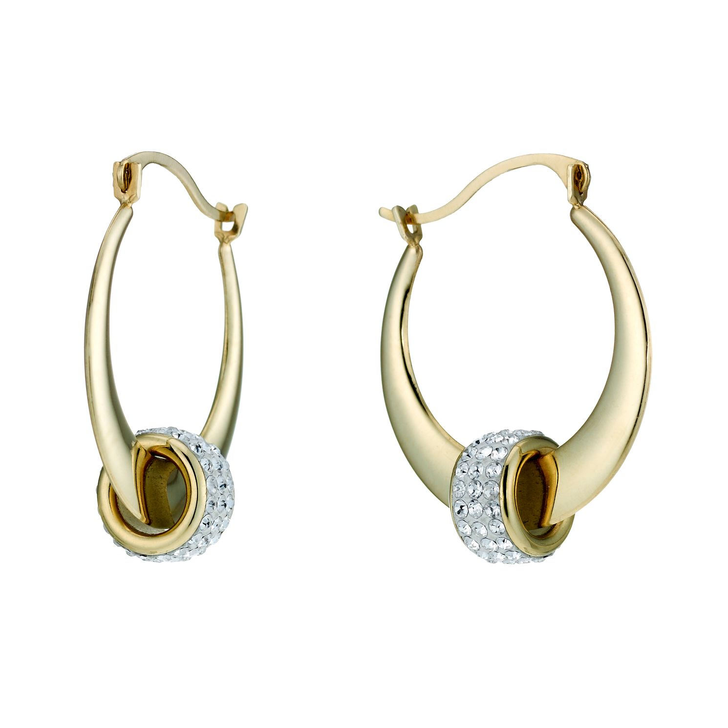 9ct Yellow Gold Crystal Bead 15mm Hoop Earrings - Product number 1748483