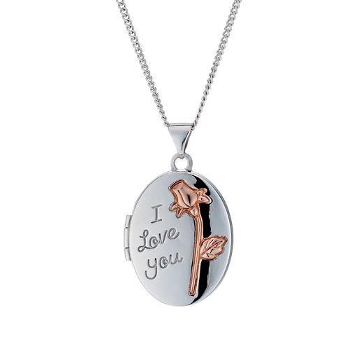 "Sterling Silver & 9ct Rose Gold 'I Love You' Oval 18"" Locket - Product number 1750399"