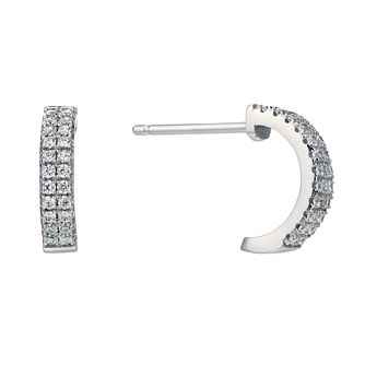 Silver Rhodium Plated Cubic Zirconia 1/2 Hoop Earrings - Product number 1751409