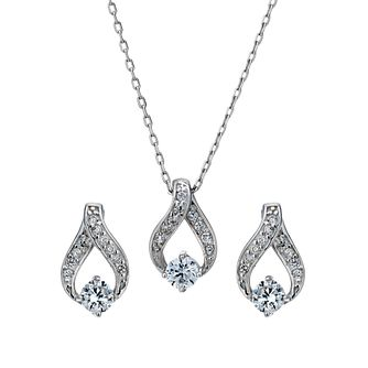 Silver Rhodium-Plated Cubic Zirconia Pendant & Stud Earrings - Product number 1751697