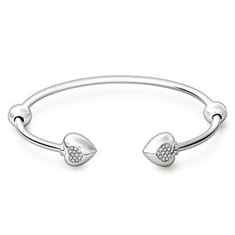 Chamilia Sterling Silver Pave Crystal Heart 6.7in Bangle - Product number 1756060