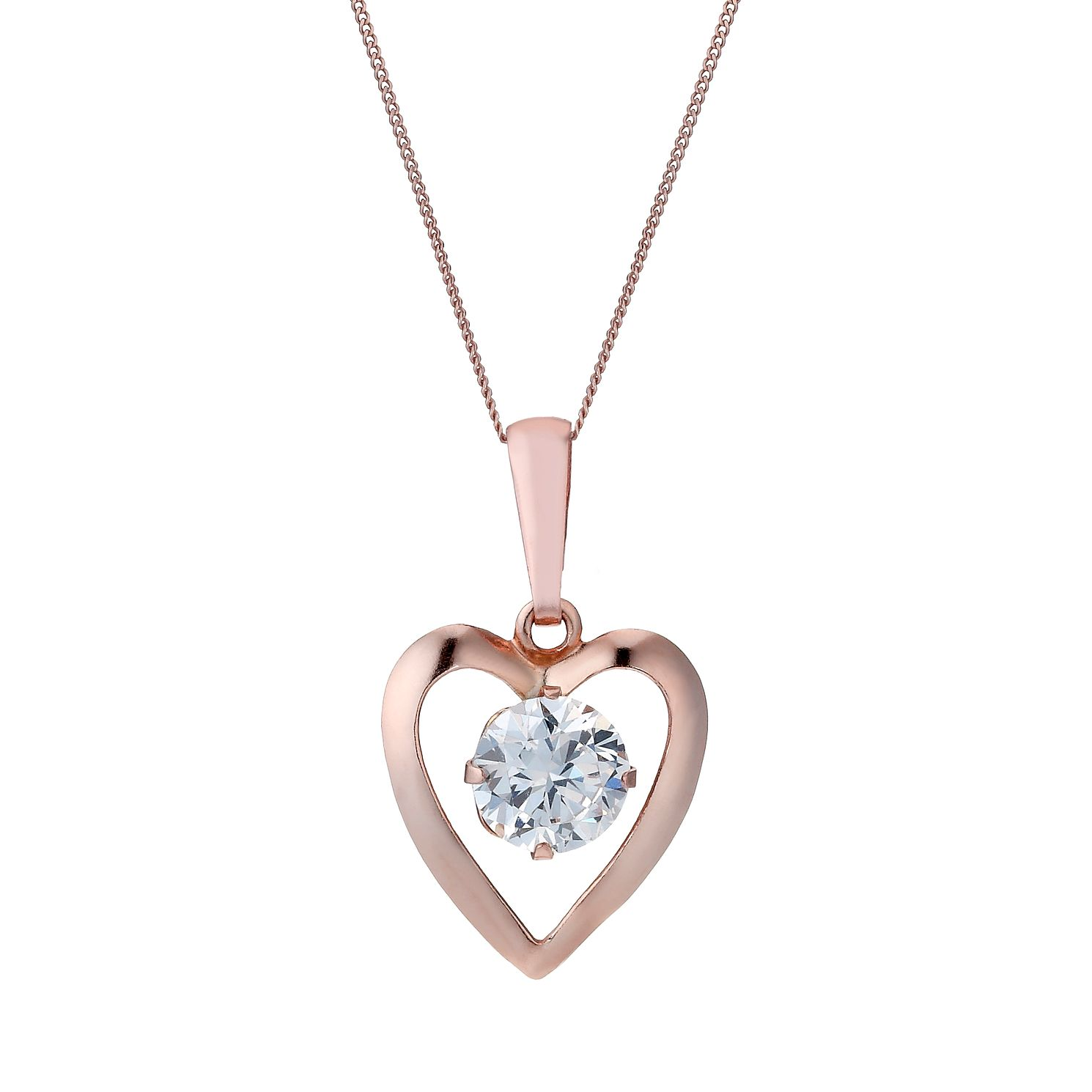 9ct Rose Gold Cubic Zirconia Heart 16 inches Pendant - Product number 1769332