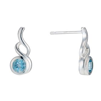 Sterling Silver Blue Topaz Fancy Stud Earrings - Product number 1773550