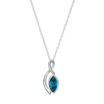 Sterling Silver Teal Crystal Marquise Pendant - Product number 1773690