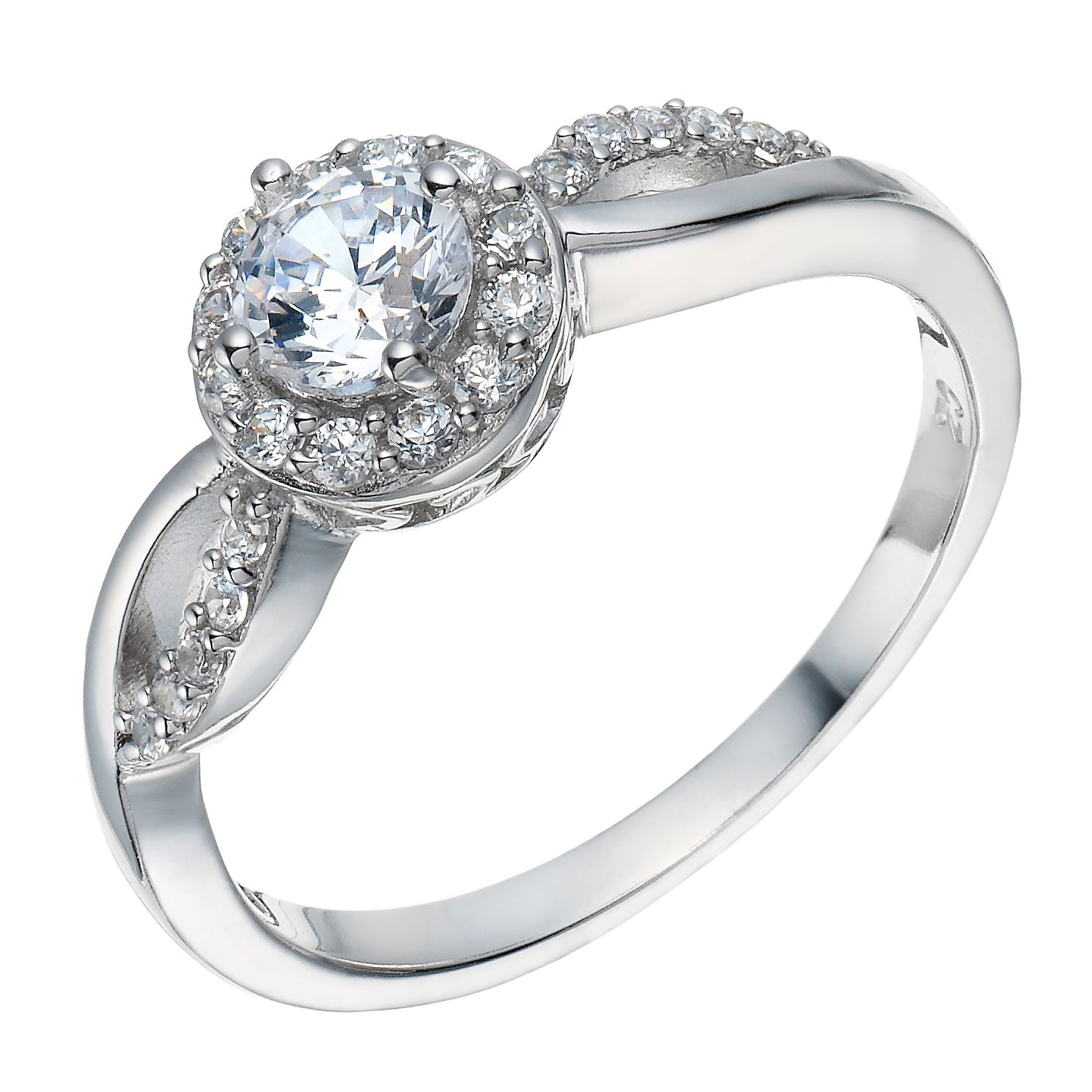 Sterling Silver Cubic Zirconia Solitaire Halo Ring Size L - Product number 1782649