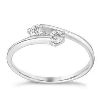 Sterling Silver Cubic Zirconia 2 Stone Ring Size P - Product number 1782967