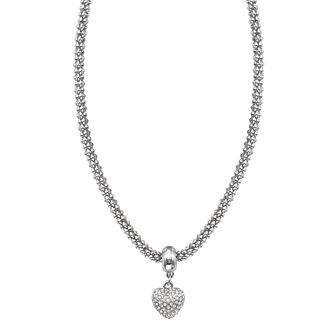 Buckley London Rhodium-Plated Stone Set Heart Necklace - Product number 1785575
