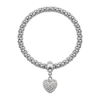Buckley London Silver Tone Stone Set Heart Bracelet - Product number 1785583