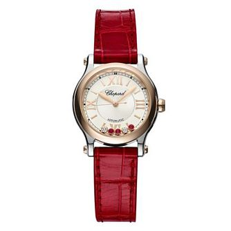 Chopard Happy Sport Ladies' Burgundy Leather Strap Watch - Product number 1828584