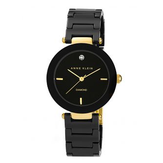 Anne Klein Ladies' Diamond Set Black Ceramic Bracelet Watch - Product number 1838806