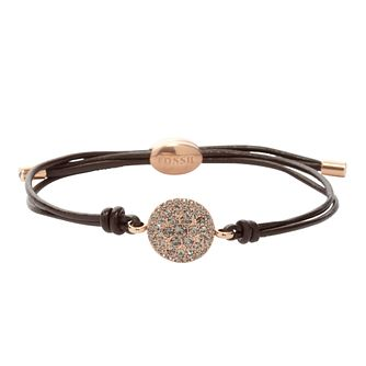 Fossil ladies' rose gold-tone stone set leather bracelet - Product number 1937383