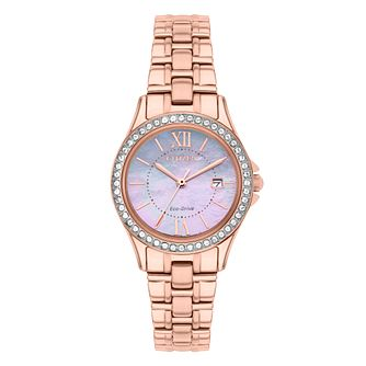 Citizen Eco-Drive Ladies' Rose Gold-Plated Bracelet Watch - Product number 1942492
