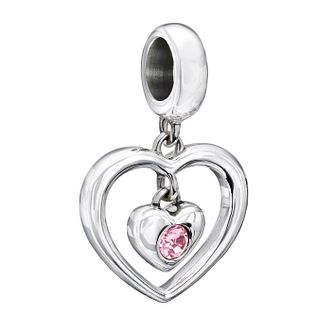 Chamilia silver Radiant Heart pink Swarovski crystal charm - Product number 1946692