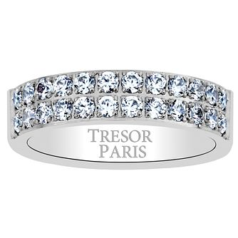 Tresor Paris 18ct white gold-plated crystal 5mm ring size P - Product number 1956558