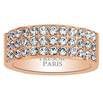 Tresor Paris 18ct rose gold-plated crystal 8mm ring size N - Product number 1956655