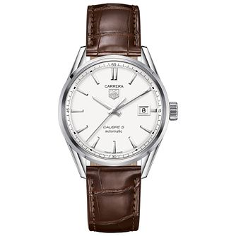 TAG Heuer Carrera Calibre 5 men's brown leather strap watch - Product number 1958011