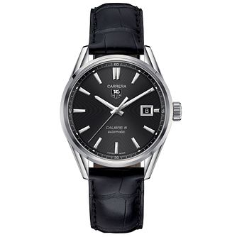 TAG Heuer Carrera Calibre 5 Men's Black Leather Strap Watch - Product number 1958038