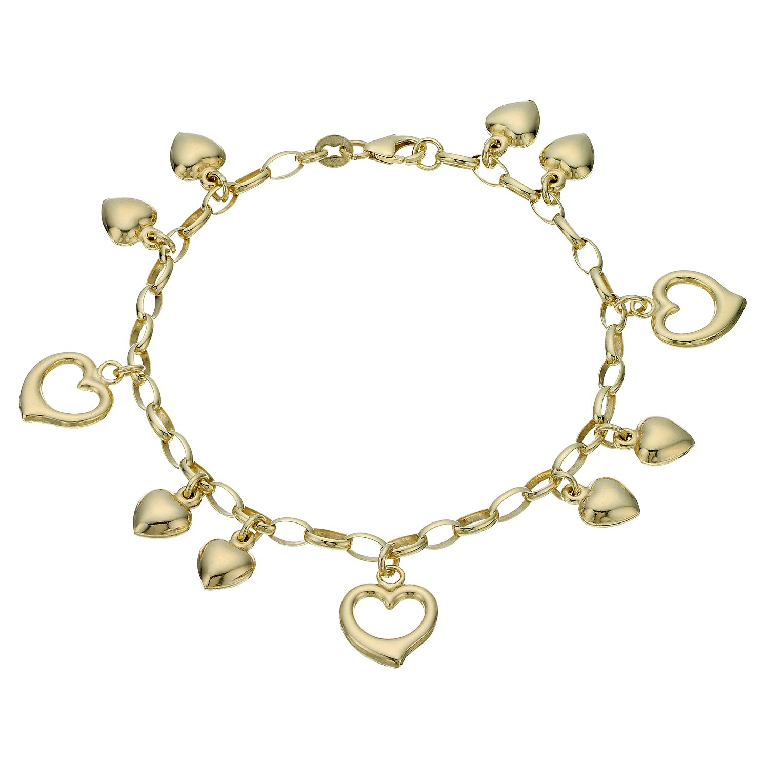 Together Silver & 9ct Bonded Gold 7.5 inches Hearts Bracelet - Product number 1968904