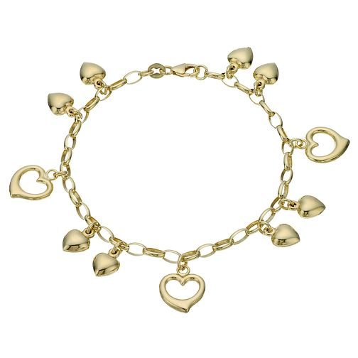 "Together Silver & 9ct Bonded Gold 7.5"" Heart Charm Bracelet - Product number 1968904"
