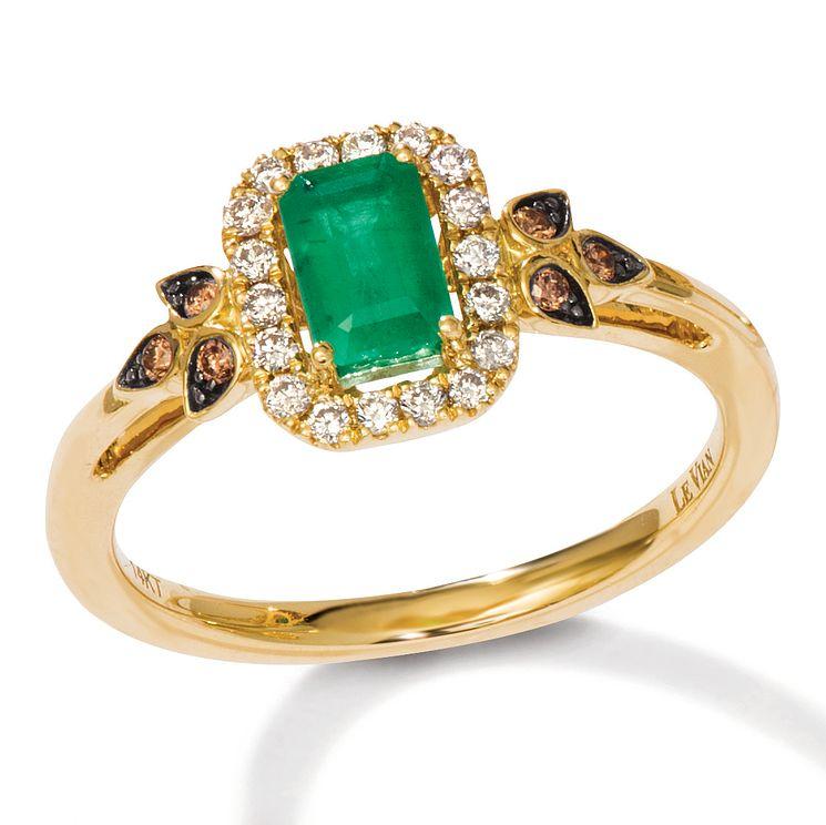 Le Vian 14ct Honey Gold Emerald & 0.18ct Diamond Ring